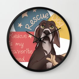 Rescue Dog Rescued Animal Lovers Favorite Breed Cute Gift Wall Clock