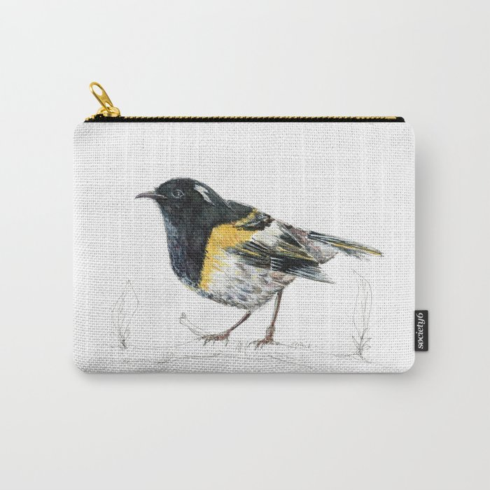 Hihi, New Zealand native Stitchbird Carry-All Pouch