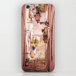 the narrow street in lisbon iPhone Skin