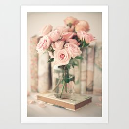 Cottage roses Art Print