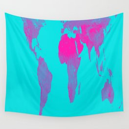 World Map : Gall Peters Turquoise & Pink Wall Tapestry