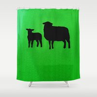 sheep Shower Curtains featuring Sheep by Brontosaurus