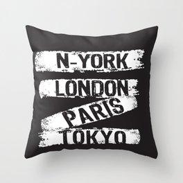 London Paris New York Throw Pillow