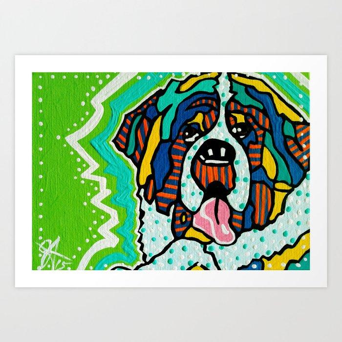 Bentley Saint Bernard Kuvasz Newfoundland Dog Puppy Great Pyrenees Mastiff Bernese Swiss Mountain Art Print