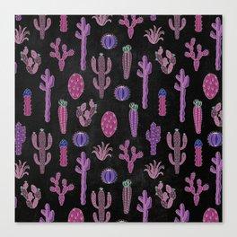 Cactus Pattern On Chalkboard Canvas Print