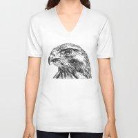 hawk V-neck T-shirts featuring Hawk by Emma Dowling