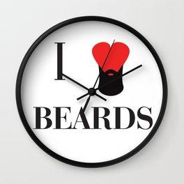 I heart Beards Wall Clock