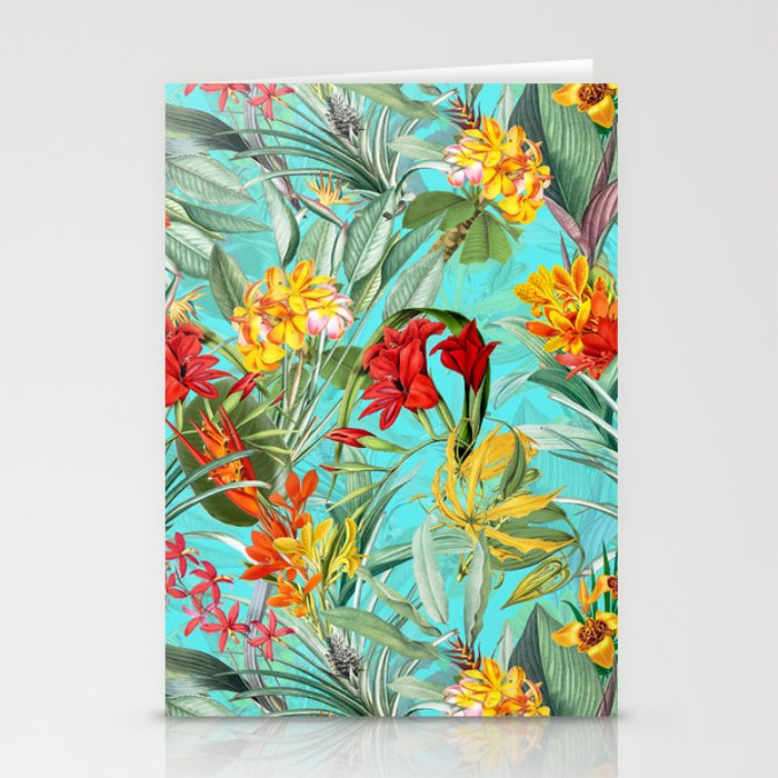 Vintage & Shabby Chic - Pierre-Joseph Redouté -Colorful Tropical Blue Garden Stationery Cards