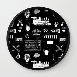 Railroad Symbols on Black Wall Clock