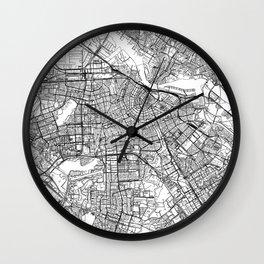 Amsterdam White Map Wall Clock