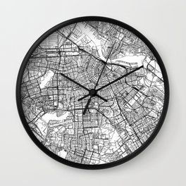Amsterdam White Map Wall Clock