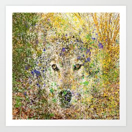 wolf in the bushes Art Print