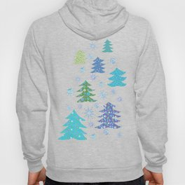 Winter Christmas Trees and Snowflakes in Purple, Blue and Green Hoody