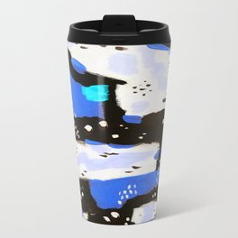 Spotted Abstract in Neon Blue Travel Mug