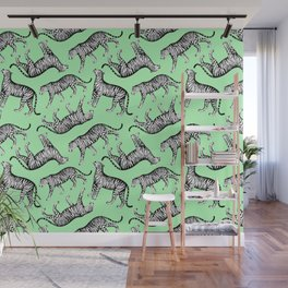 Tigers (Green and White) Wall Mural