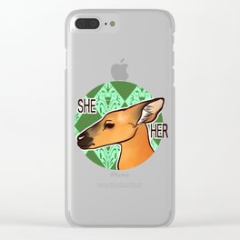 She/Her Marsh Deer Clear iPhone Case