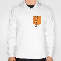 alex vause Hoodies featuring Alex Vause Glasses with Fake Print Pocket by Zharaoh