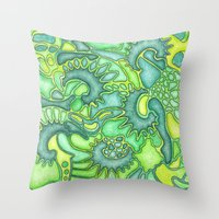 jungle Throw Pillows featuring Jungle by art by becera