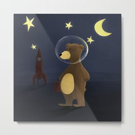 Bert, the bear who wanted to be an astronaut Metal Print