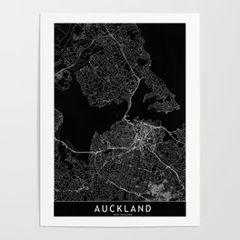 Auckland Black Map Poster