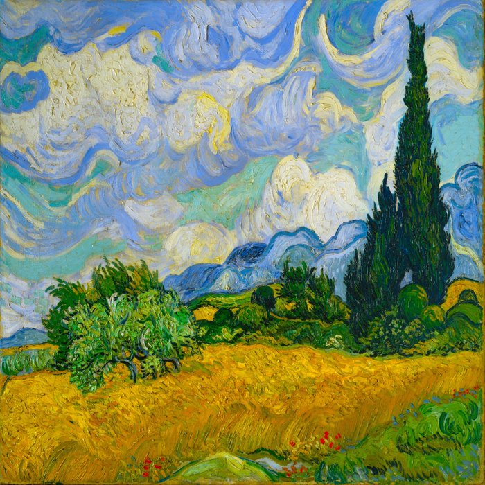 Wheat Field with Cypresses Vincent van Gogh Oil on canvas 1889 Comforters
