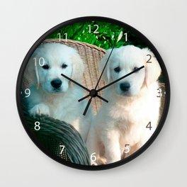 White Golden Retriever Dogs Sitting in Fiber Chair Wall Clock