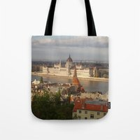 budapest Tote Bags featuring Budapest by Karina Shah