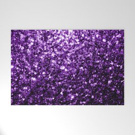 Beautiful Dark Purple glitter sparkles Welcome Mat