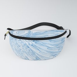 Beautiful Feathers on Blue Marble Design Fanny Pack