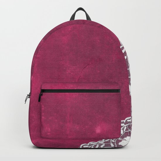 Claire´s treasure - White beautiful lace and pearl on pink grunge backround Backpack