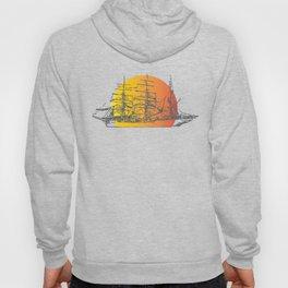 Ship Sailing to Sunset Clipper Boat Paradise Black Hoody