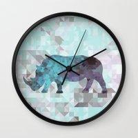 rhino Wall Clocks featuring Rhino by Dnzsea