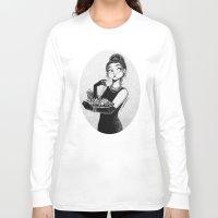 tiffany Long Sleeve T-shirts featuring breakfast with Tiffany by C. Cassandra
