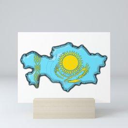 Kazakhstan Map with Kazakh Flag Mini Art Print