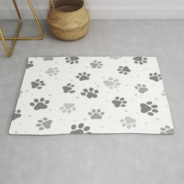 Black, White and Grey Cute Dog Paws Print. Rug