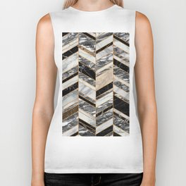 Abstract Chevron Pattern - Black and White Marble Biker Tank