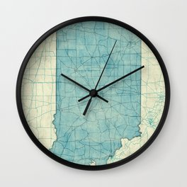 Indiana State Map Blue Vintage Wall Clock