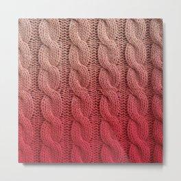 Flamingo Pink Cable Knit Metal Print