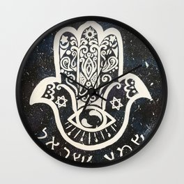 Galaxy Hamsa with Shema Wall Clock