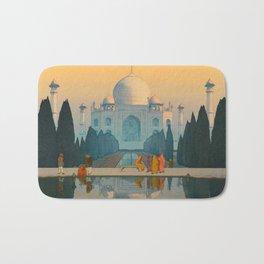 Morning Mist in Taj Mahal Vintage Beautiful Japanese Woodblock Print Hiroshi Yoshida Bath Mat