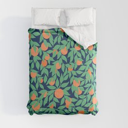 Oranges and Leaves Pattern - Navy Blue Comforters