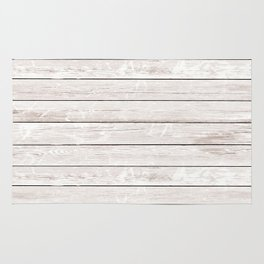 Rustic ivory white vintage wood Rug