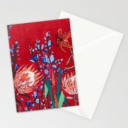 Red and Blue Floral with Peach Proteas Stationery Cards