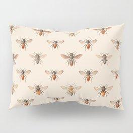 Vintage Bee Illustration Pattern Pillow Sham