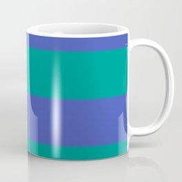 Even Horizontal Stripes, Teal and Indigo, XL Coffee Mug