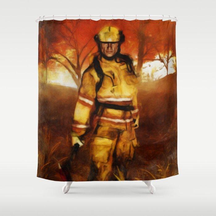 FIRST RESPONDER - Firefighter, Bushfires, Emergency Services Shower Curtain