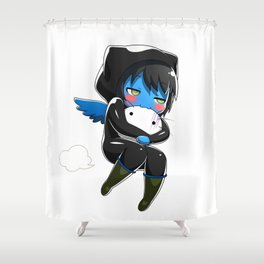 Fuzzy Chibi Luc (Expression 2) Shower Curtain
