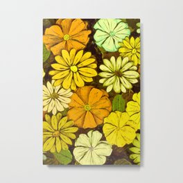 Abstract #417 Flower Power #5 Mellow Yellow Metal Print
