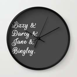 The Pride and Prejudice Couples II Wall Clock