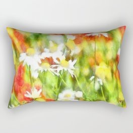The Colors Of Spring On A Sunny Day Watercolor Rectangular Pillow